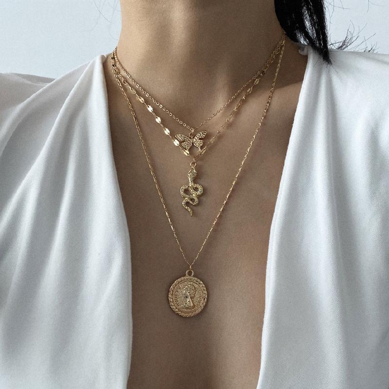 3Pcs / Set Multilayer Collier Papillon Serpent Pendentif pour Femme Charm exquis longue chaîne Collier Set Bijoux cadeau