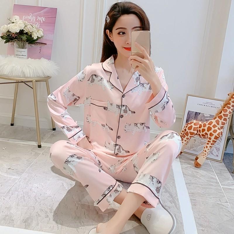 2019 весна шелковый атлас пижамы наборы для женщин с длинным рукавом Пижама печати пижамы Женщины Loungewear Homewear Pijama Mujer Одежда