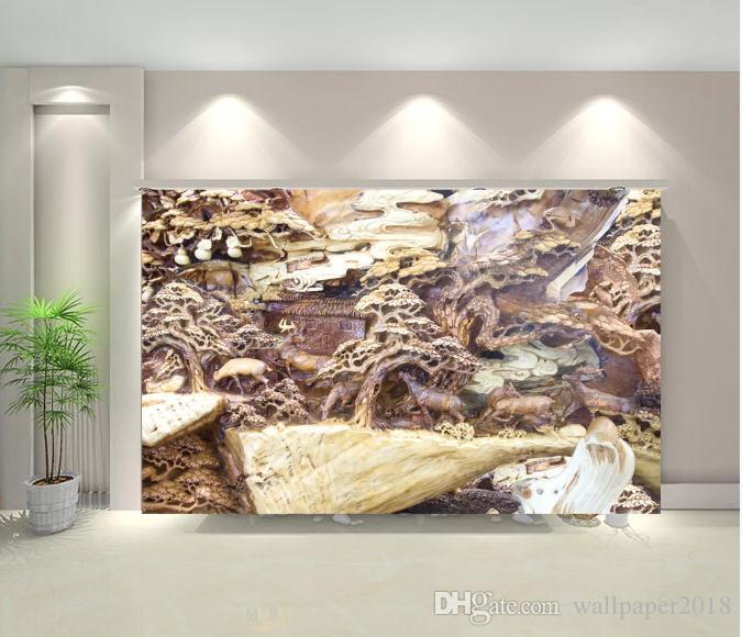 Tallado en madera de pino 3D mural de fotos fondos de pantalla para pared 3 d Salón Dormitorio Shop Cafe Bar paredes murales Rollo Papel de parede