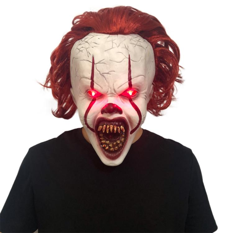 Full Head Latex Mask Horror Movie Stephen King's It 2 Cosplay Pennywise Clown Joker LED Mask red Hair Halloween Party Props