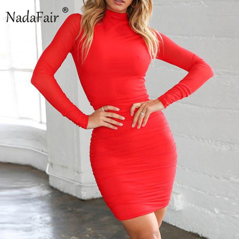 vendita all'ingrosso manica lunga vestito dalla fasciatura donne increspate primavera autunno dolcevita abito aderente bianco nero rosso club party mini abiti