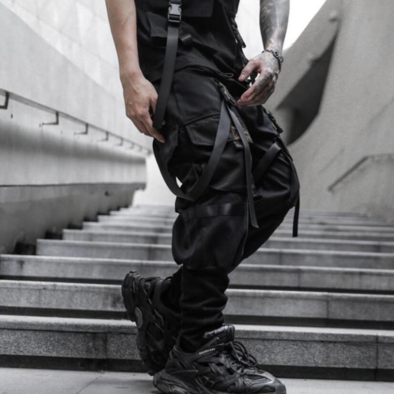 Hommes pantalons cargo hip hop décontracté noir joggeurs élastiques streetwear rubans de taille hommes minces pantalon sport poches multiples