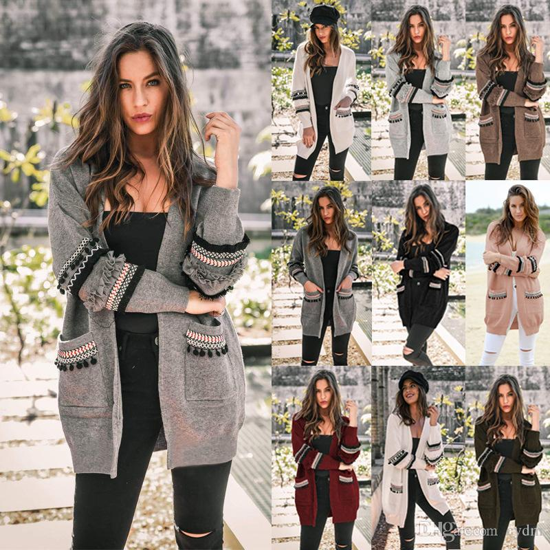 Bester Verkauf im europäischen Stil 2019 Herbst und Winter arbeiten lässig mit langen Ärmeln Frauen lang Strickjacke Mantel, stützen Mischreihe