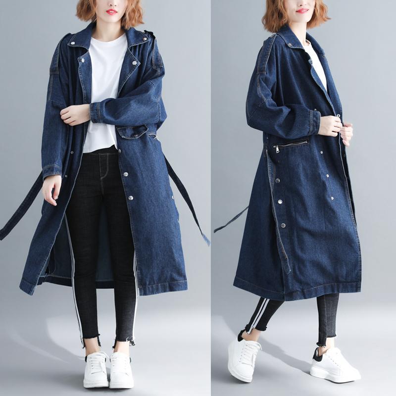 Большой размер джинсовая ветровка женские весенние пальто был тонкий свободные повседневные карманы с длинными рукавами литературный джинсовый тренч пальто новый Z401