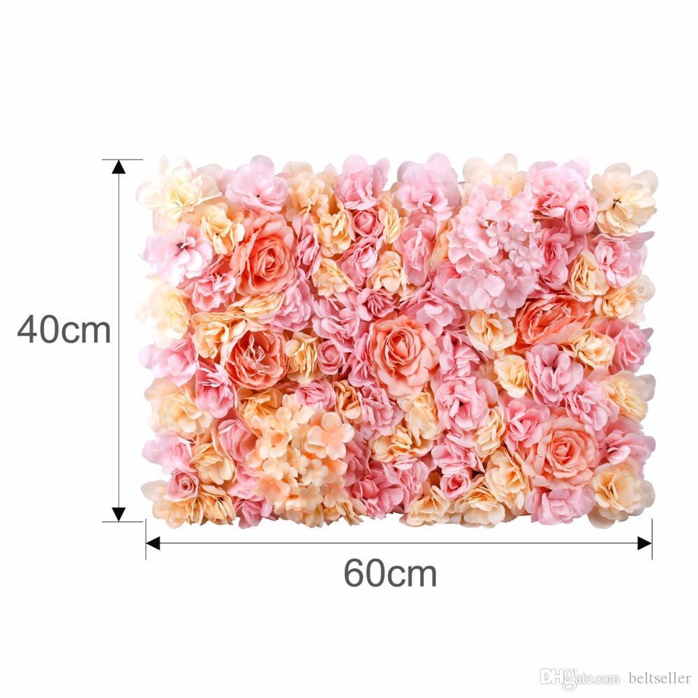 40X60 cm Künstliche Seidenblume Wand Panel Weiße Blumen Hortensien Hochzeitsdekoration Hochzeit Hintergrund Dekor
