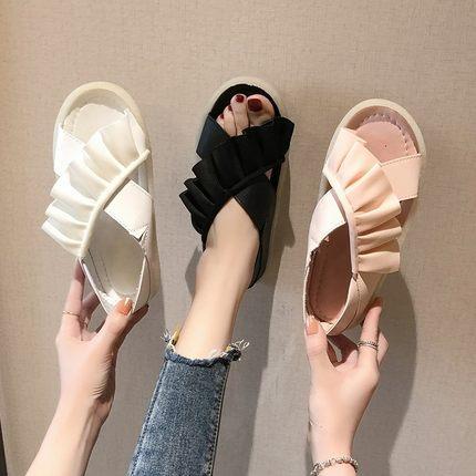 Sandales style fée d'été de la mode féminine sauvage doux fond plat fond anti-dérapant sandales femmes