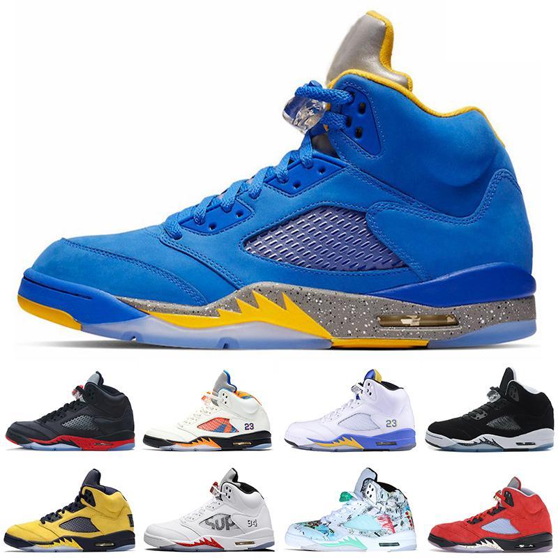 5 5s Laney JSP Men Basketball Shoes International Flight PSG Paris Black White Laney White Mens Trainers Sports Sneakers US 7-13