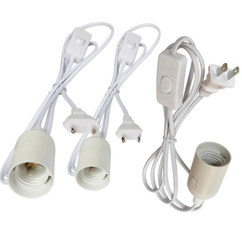 1.8M Power Cord Cable E27 Lamp Bases round plug with switch wire for chandelier Bulb Holder Lamp 85-265V Hanging Light Socket