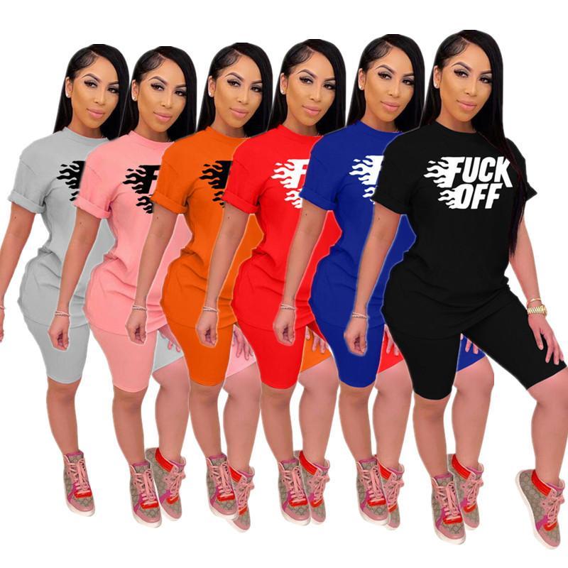 Mode Frauen Tracksuits Letter Print Kurzarm T-Shirt + Shorts Zweiteiler Outfits Qualitäts-Hip Hops Street Kleidung 6 Farbe