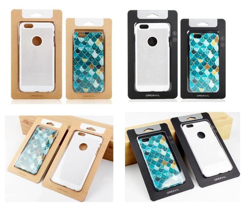 Universal ordinaire Papier Kraft boîtes d'emballage au détail Téléphone Case Emballage boîte d'emballage pour le téléphone 4,7 pouces Case 5,5 pouces avec insert Samsung S8
