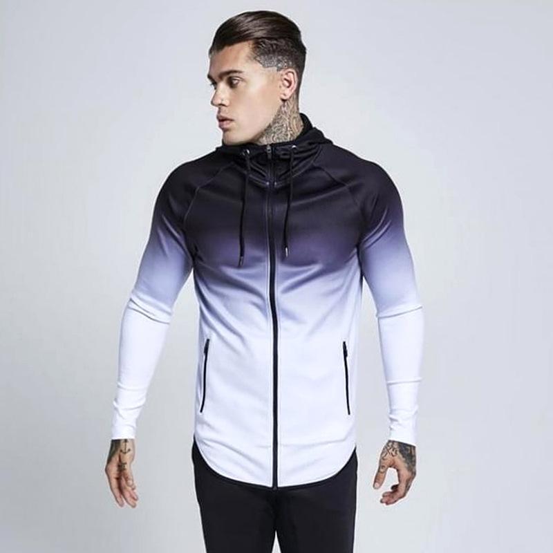New Gradient Hooded Running Jacket Men Gym Fitness Coat Long Sleeve Basketball Running Jacket Zipper Sports Training Sweatshirts