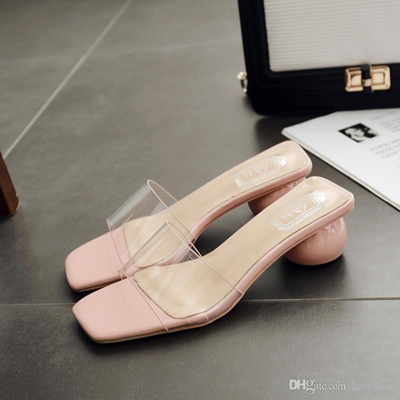 Kristallhausschuhe Damenschuhe Frau Mules Sommer 2020 neue Art und Weise der reizvollen Damen Hausschuhe freier transparenter High Heels Schuhe Slides