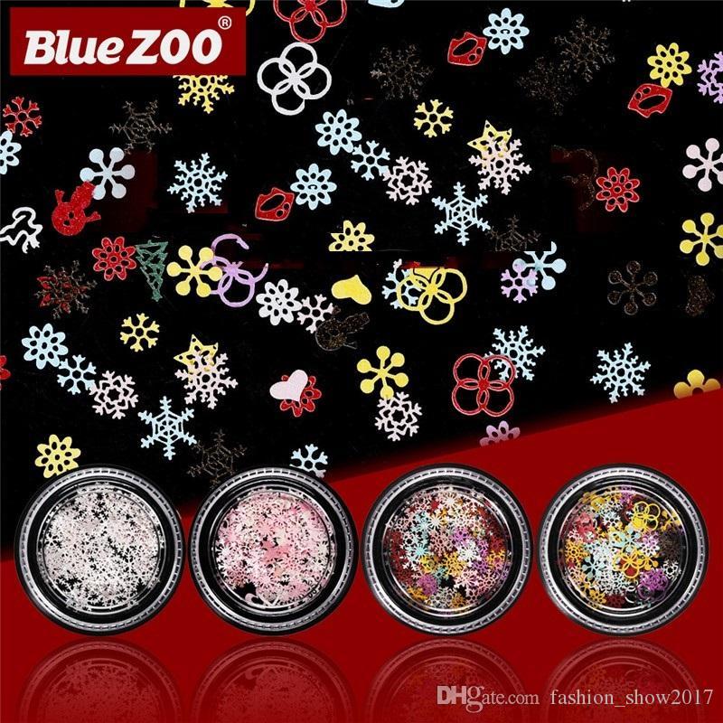 Blauer Zoo Weihnachten Nail Art Dekorationen Metallnagel-Flocken Schnee-Blumen-Form, Weiß, Rosa 3D-Maniküre-Nagel Pailletten