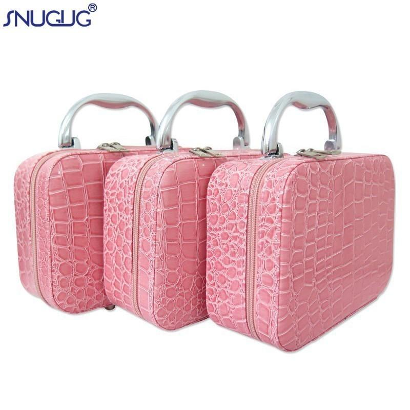 Snugug Small Mini Alligator Cosmetic Cases Beauty Case Cosmetic Bag Lockable Jewelry Box Travel Toiletry Organizer Suitcase Y190702