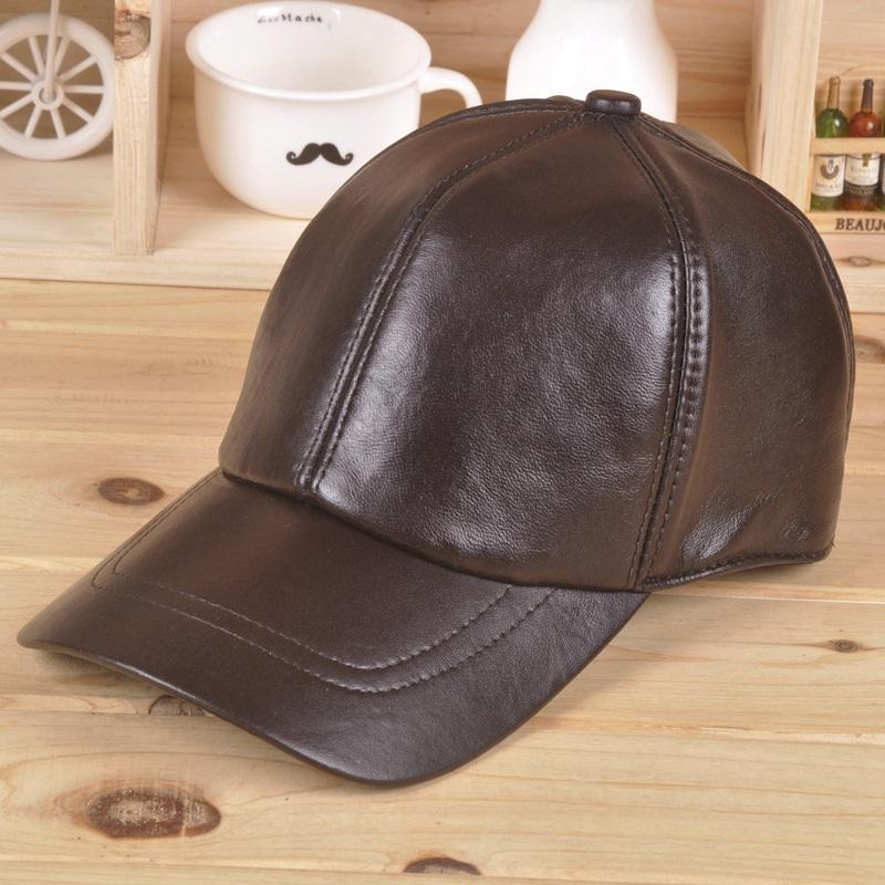 Leather hat men's and women's autumn and winter sheepskin Beret baseball cap outdoor leisure sports leather hat new arrival