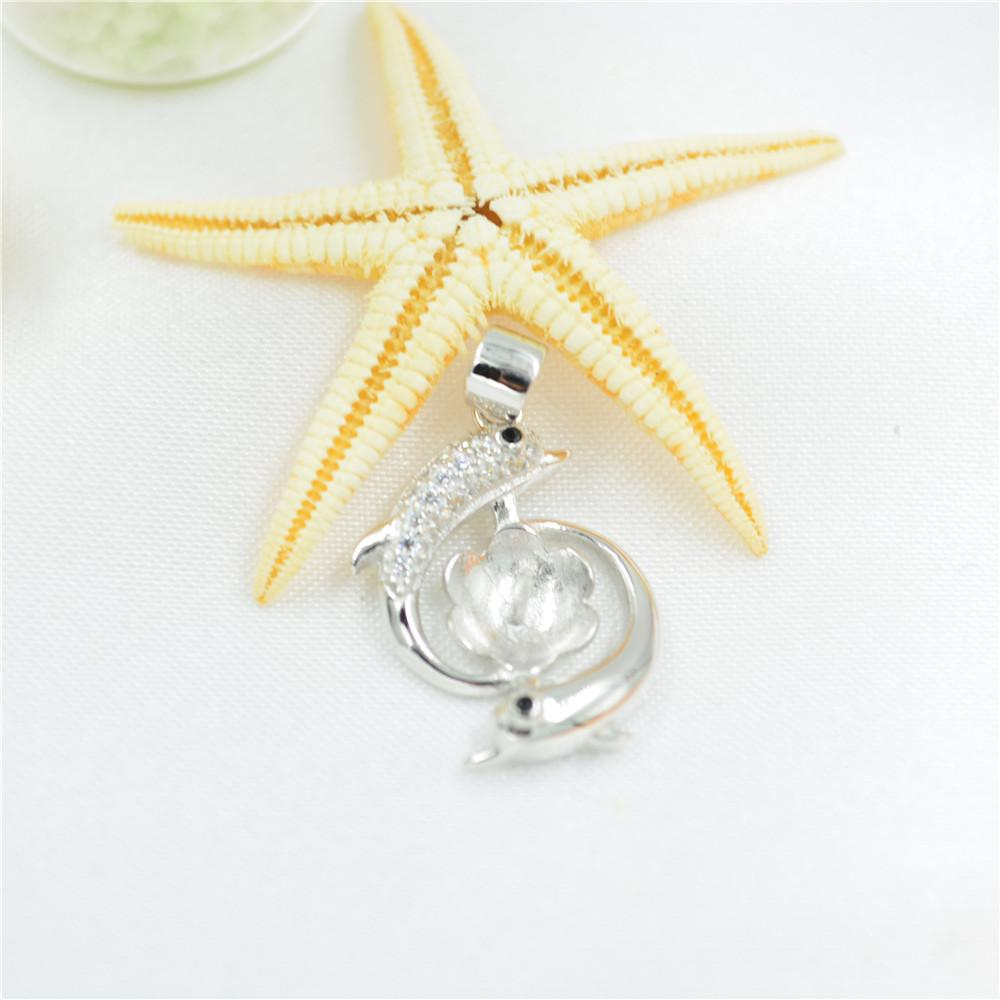 wholesale Fashion S925 Sterling Silver Pendant mountings Dolphin pearl Pendant mountings DIY Necklace accessories free shipping