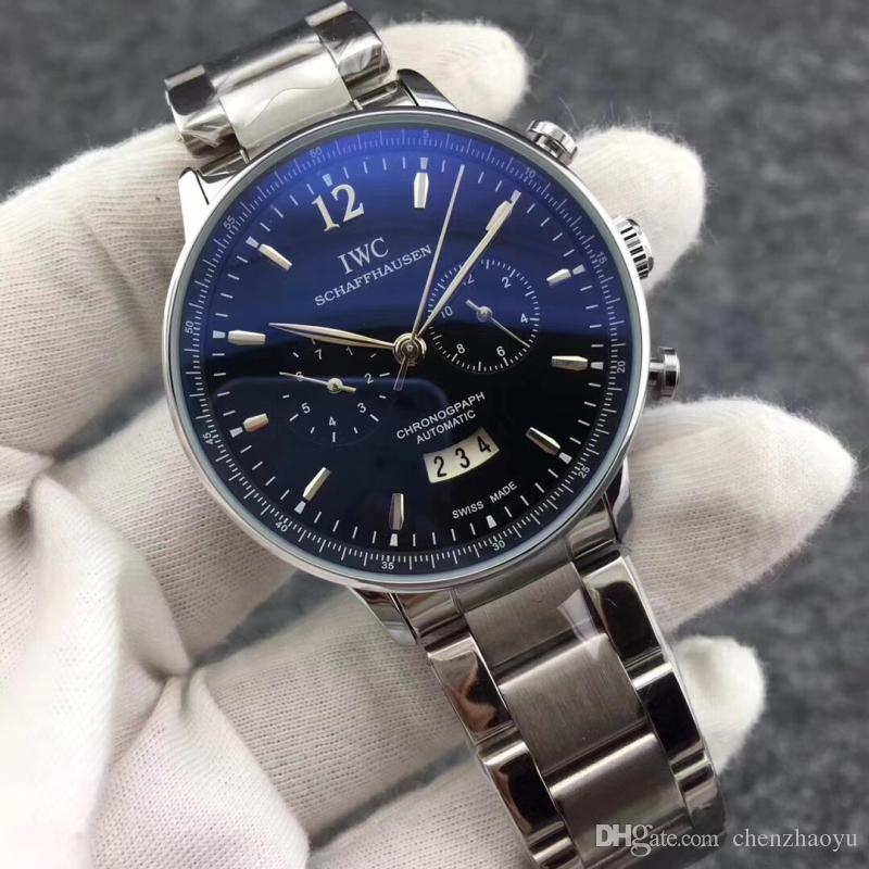 Hot sale edição limitada Royal Oak 3 dial roda relógio oco de aço inoxidável relógio mecânico preto de luxo relógio de 46 mm dos homens