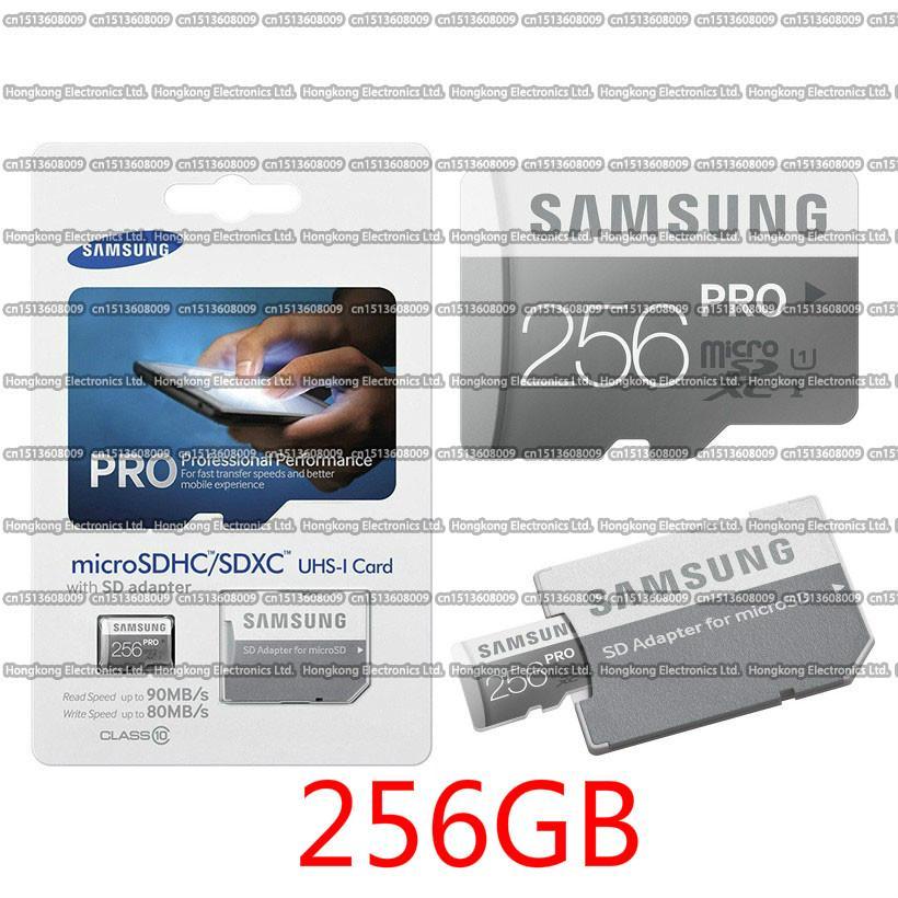 DHL الشحن 16G / 32GB / 64GB / 128GB / 256GB سامسونج PRO بطاقة مايكرو التنمية المستدامة CLASS10 / اللوحي TF بطاقة C10 / MP4 بطاقة الذاكرة / SDXC / SDHC بطاقة 90MB / S