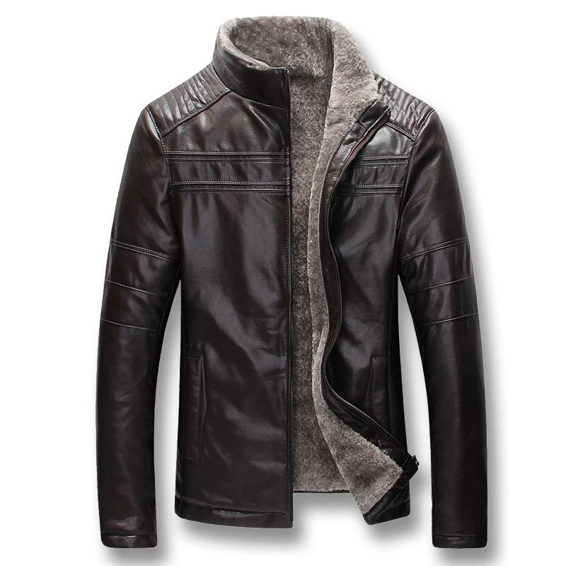 2019 hombres de invierno gruesa lana PU capas de las chaquetas Hombre Casual Male Moda Slim Fit Zip de gran tamaño chaquetas de los hombres