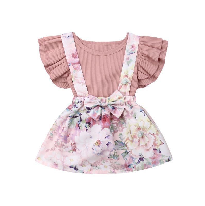 2020 estate nuovo bambino Abbigliamento Neonato Bambino Bambini ragazze manica corta pagliaccetto Tops + Suspender Skirt Tuta Abito 2PCS Outfit