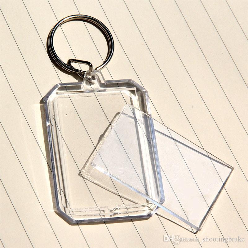 FRETE GRÁTIS POR DHL 600 pçs / lote Novo Octagon Retângulo Em Branco Chaveiros Acrílico Chaveiros de Plástico Transparente Foto para Presentes