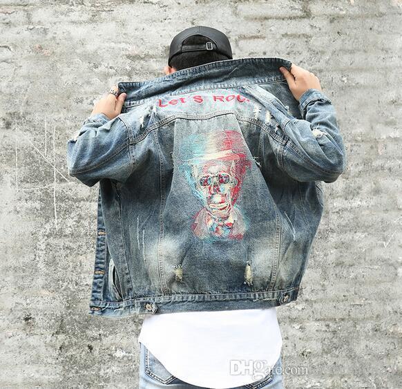 Streetwear Style Ausgefranstes Loch Totenköpfe Jeansjacken Herren Vintage Lets Rock Stickerei Cowboy Mantel Lose Oberbekleidung