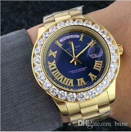 Masculino Horloge Big Diamond Men Men Gold Président Hommes Acier inoxydable Montre Montre Montre-Bracelet Top Top Date Marque Pour Relogio Hommes 'LBNC