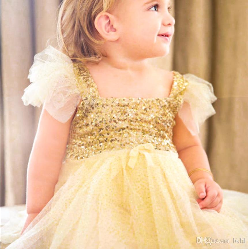 فساتين مطرزة الترتر الأميرة حزب اللباس الاطفال طفلة اللباس أكمام الرباط توتو اللباس الأصفر عيد ميلاد الحزب