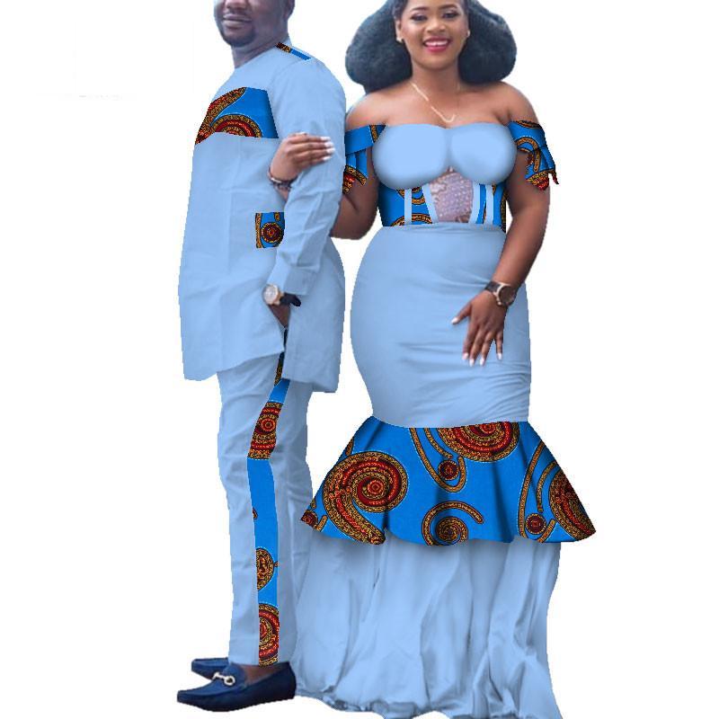 Afrika Baskı Giyim Çift Dashiki için zarif bayan parti Elbiseler ve erkekler gömlek pamuk Afrika Giyim WYQ173