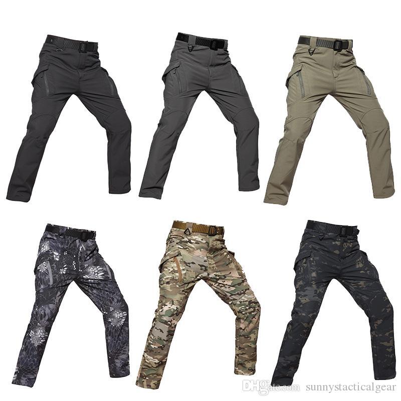 Açık Spor Ormanlık Avcılık Çekim Taktik Camo Pantolon Savaş Giyim Kamuflaj Pantolon Softshell IX9 Pantolon NO05-210