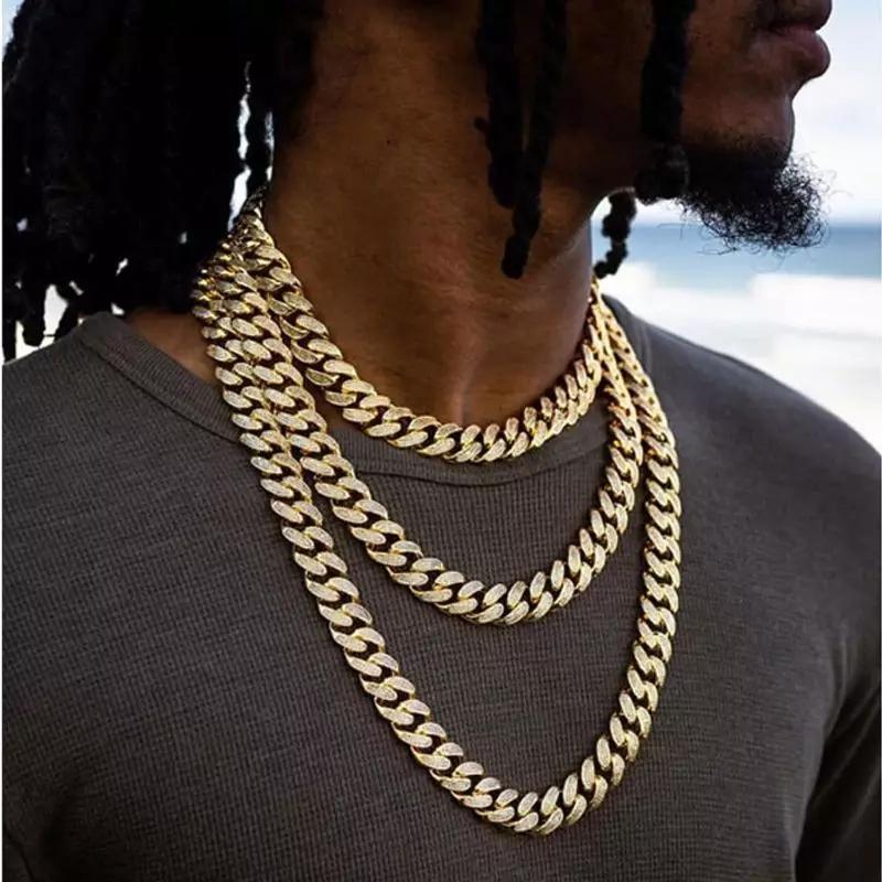 Karopel Iced Out Bling Rhinestone Mens Gold Silver Miami Cuban Collane Collane a catena di collegamento Diamond Men's Hip Hop Collana