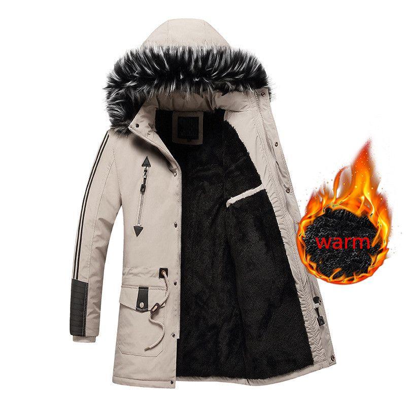 Jaket largo hombres de invierno abrigos abrigos de piel abajo Parkas con capucha engrosamiento rompevientos prendas de vestir exteriores abrigo más el tamaño l-3xl 2019