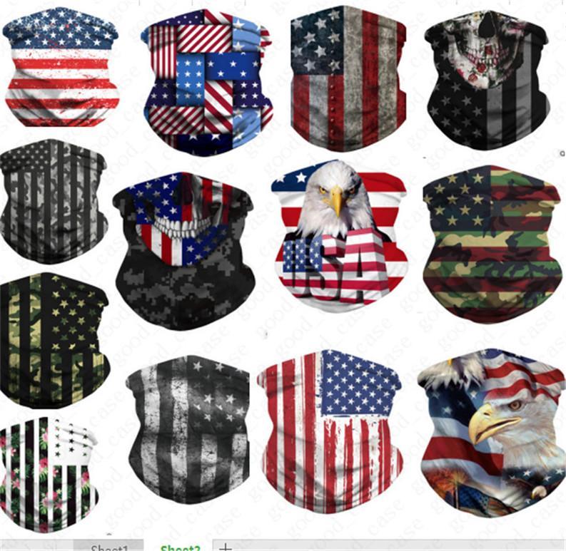 3D Die amerikanische Nationalflagge Print-Gesichtsmaske atmungsaktiv Reuse Face Shield Mundschutz Stirnband Schleier Schal Radfahren Staubdichtes Masken D52707