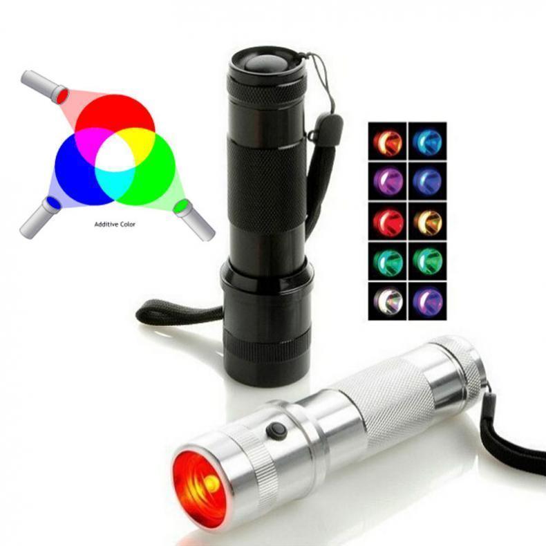 Changement de couleur RGB LED lampe de poche 3W en alliage d'aluminium RVB Edison LED multicolore LED arc-en-flamme pour la fête de la maison de vacances
