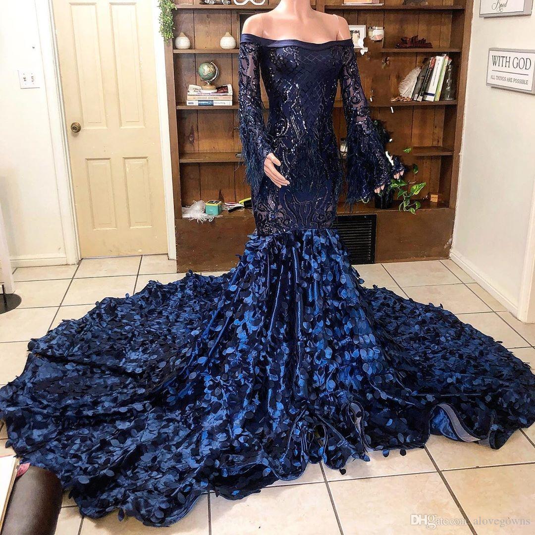 2020 paillettes Dark Navy sirena Prom Dresses piume manica lunga Black Girls spalle più il vestito promenade del partito del vestito abiti