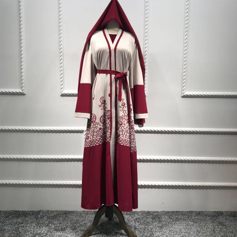 Плюс Размер Абая Dubai Кимоно Long Red Maxi Кардиган мусульманское платье Рамазан Abayas для женщин турецкие исламские одежды с Hijabs