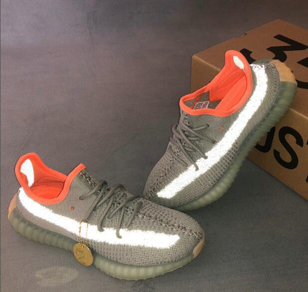 Бесплатная доставка 350 V2 Desert Sage Светоотражающие Sneaker Мужчины Женщины Светоотражающие кроссовки