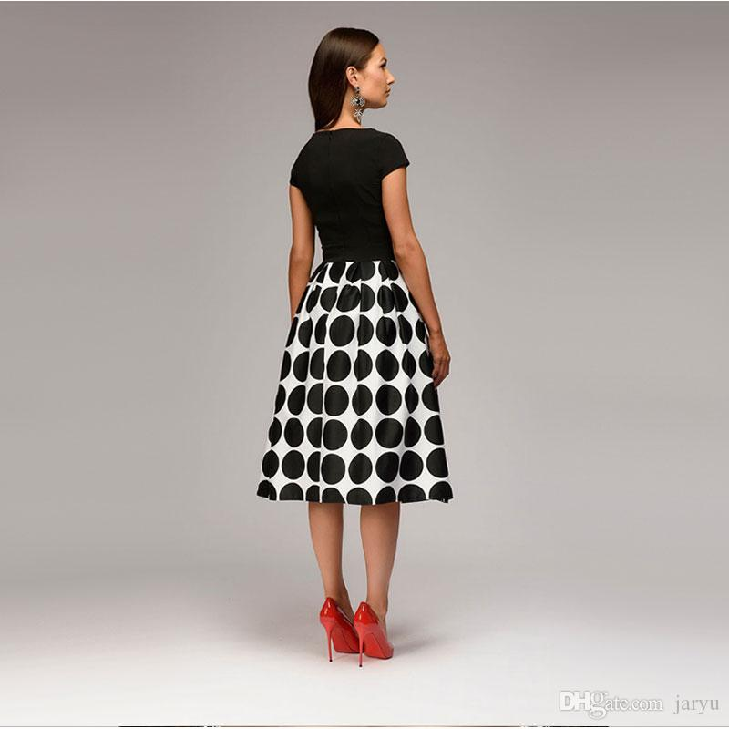 e9b504e896860 Women Fit And Flare Party Dress Vintage Dot Print Summer Casual Dress 2018  Summer O Neck Short Sleeve Elegant Celebritie Dresses Shirt Dresses Fashion  ...