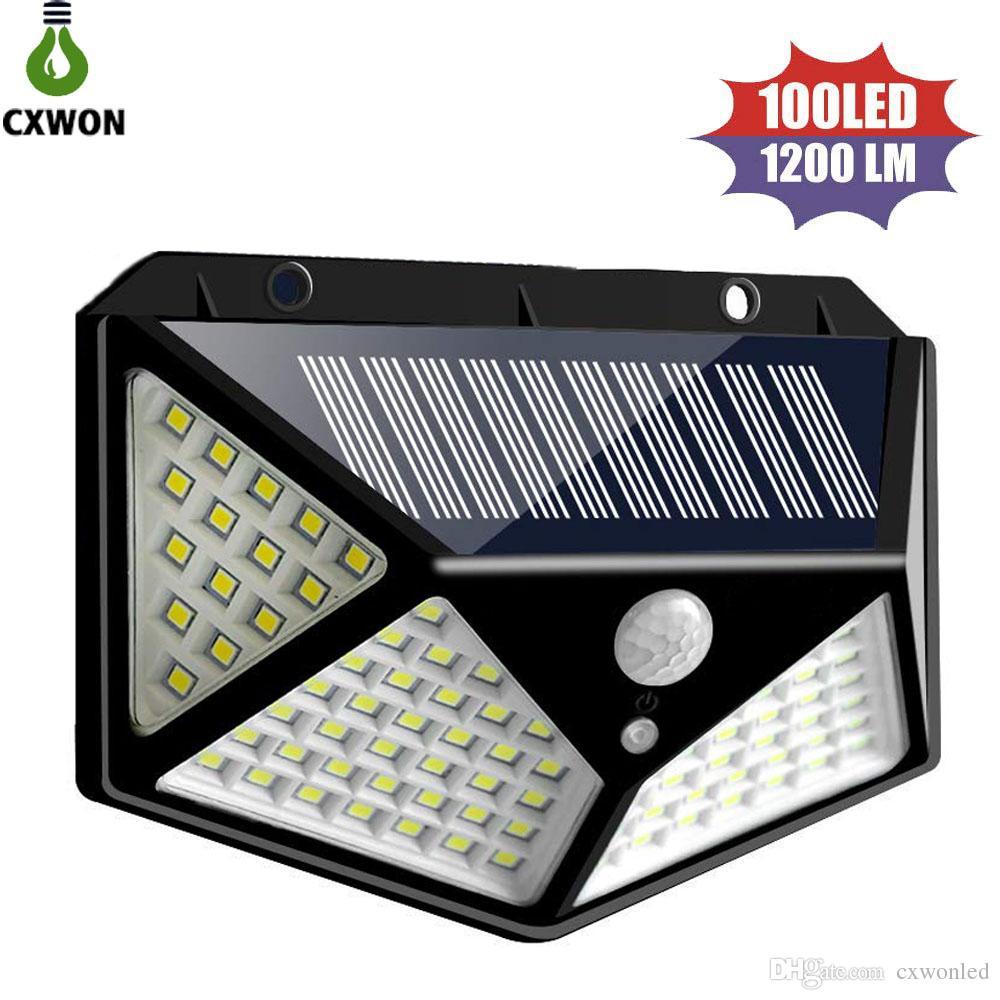 Wide Angle Solar Lamps 100leds 1200lm solar led garden light PIR Motion Sensor Solar Wall Mounted Light