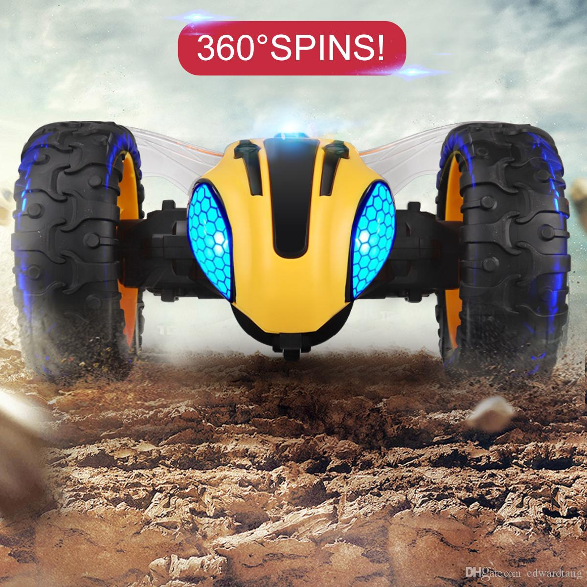 2.4G Remote Control Bumblebee Stunt Car Toy, 360 Degree Rotate, Colorful Lights Eyes& Music, Vacuum Tyre, Xmas Kid Birthday Boy Gift, 3-2