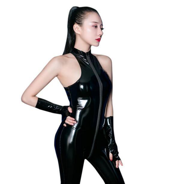 PVC Shiny Long Zipper Open Crotch Bodysuit Halter Latex Shaping Bodysuit Body Stockings Erotic Lingerie With Glove