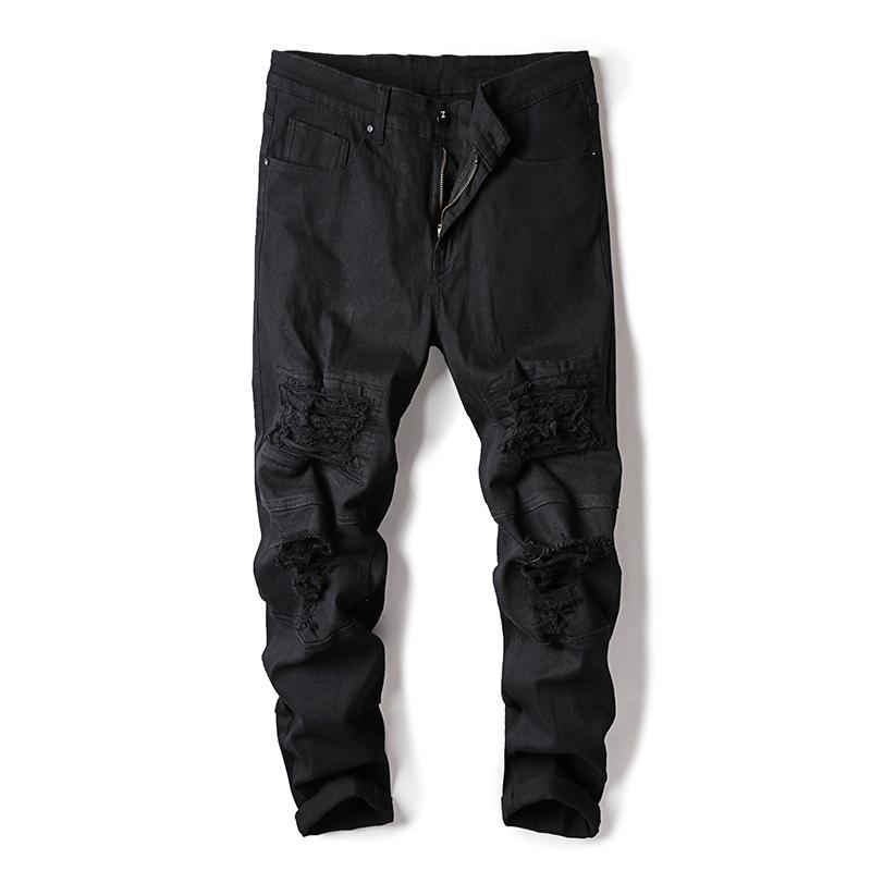 2020 новый мужской проблемный байкер отверстие джинсы мода плиссированные рваные джинсовые бегуны черный Slim Fit брюки с хип-хоп патчи