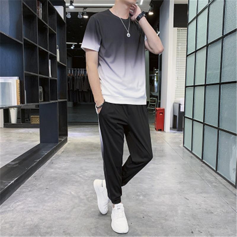 Designer Mens Gradient Suit T Pantaloni lunghi due pezzi set di moda Abbigliamento casual Pista sportiva Tuta sportswears fitness uomo