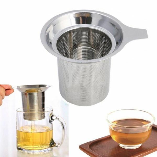 Acero inoxidable de malla de Infuser del té del tamiz del té Tamiz reutilizable tetera de té Hoja de especias filtro difusor Recipientes Accesorios de cocina ZYQ129
