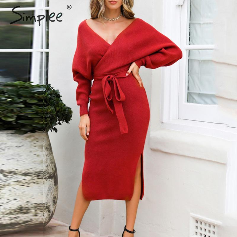 Simplee Sexy v-neck knitted dress Women solid high waist sheath autumn dress Elegant belt office ladies chic short party