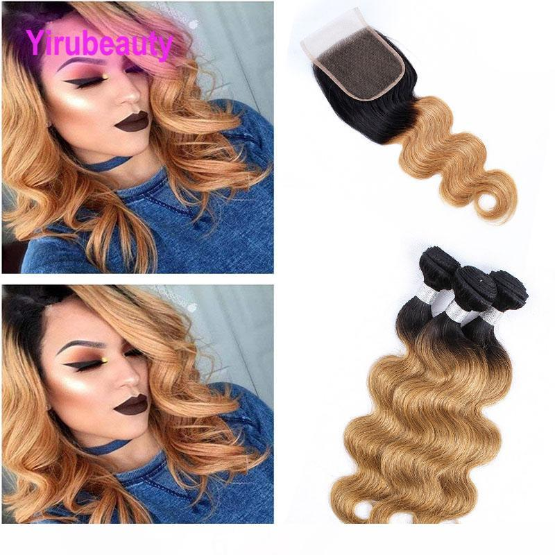 Indian Virgin Hair Lace Closure 4X4 With 3 Bundles 8-28inch 1B 27 Double Color Body Wave Bundles With 4X4 Closure Free Middle Three Part