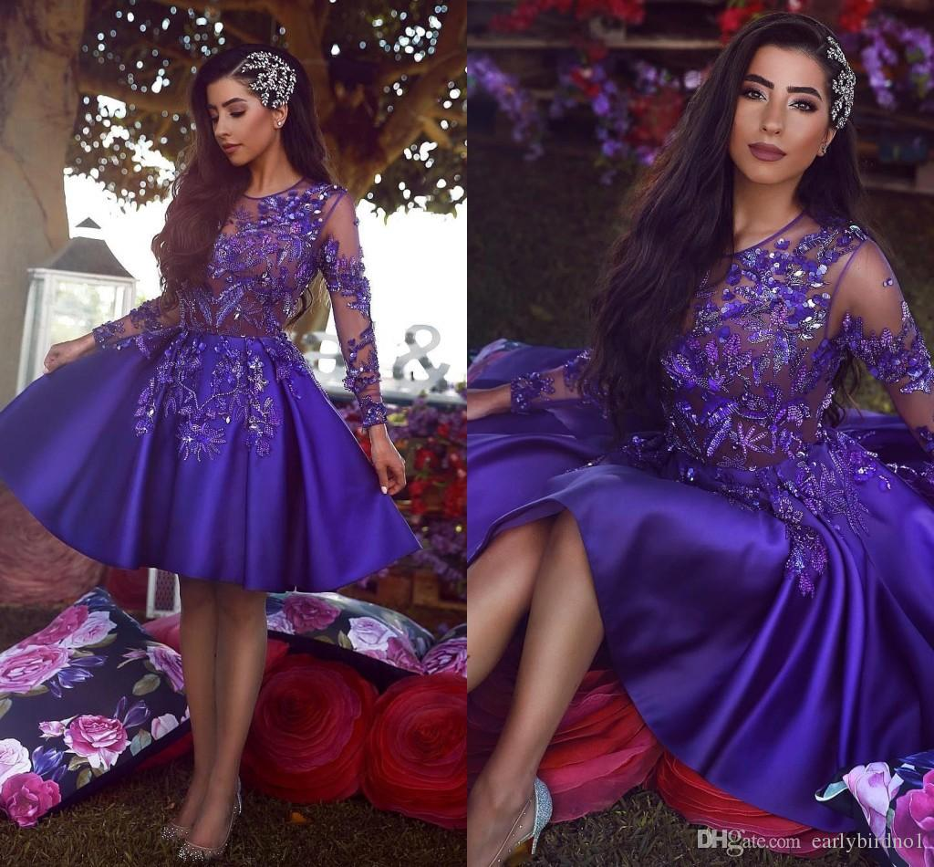 Arabic Royal Purple Short Cocktail Homecoming Dresses 2019 Vintage Long Sleeve A Line Sheer Neck Applique Beaded Dress Prom Gowns BC1227