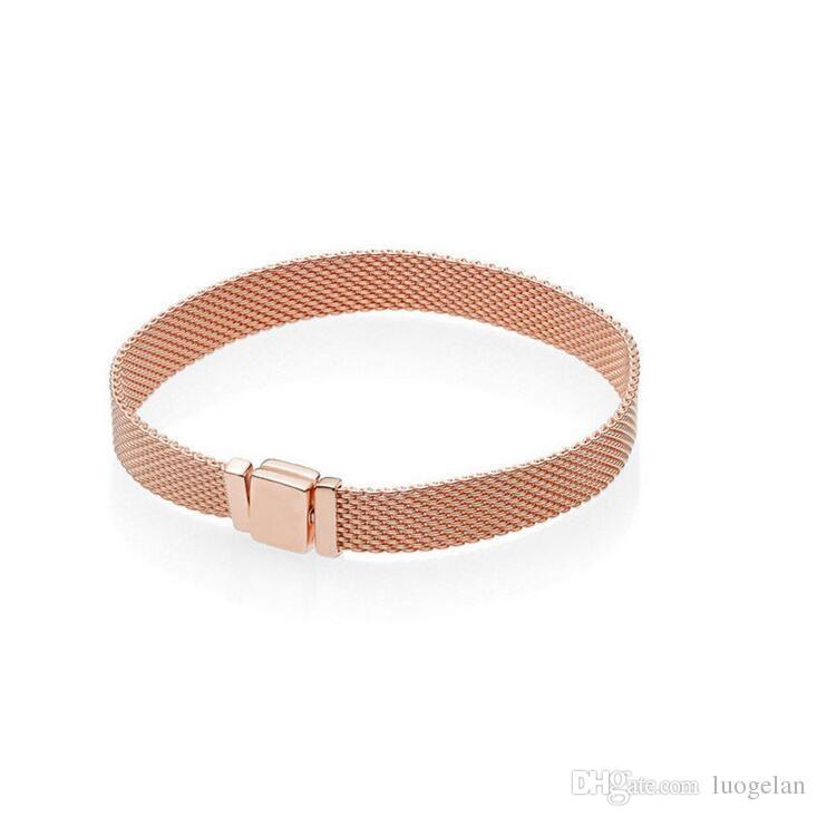 Fits Beads Silver Bracelets for Women Reflections Rose Bracelets With Clasp Clip Charm DIY Fashion Bracelets Silver 925 Jewelry
