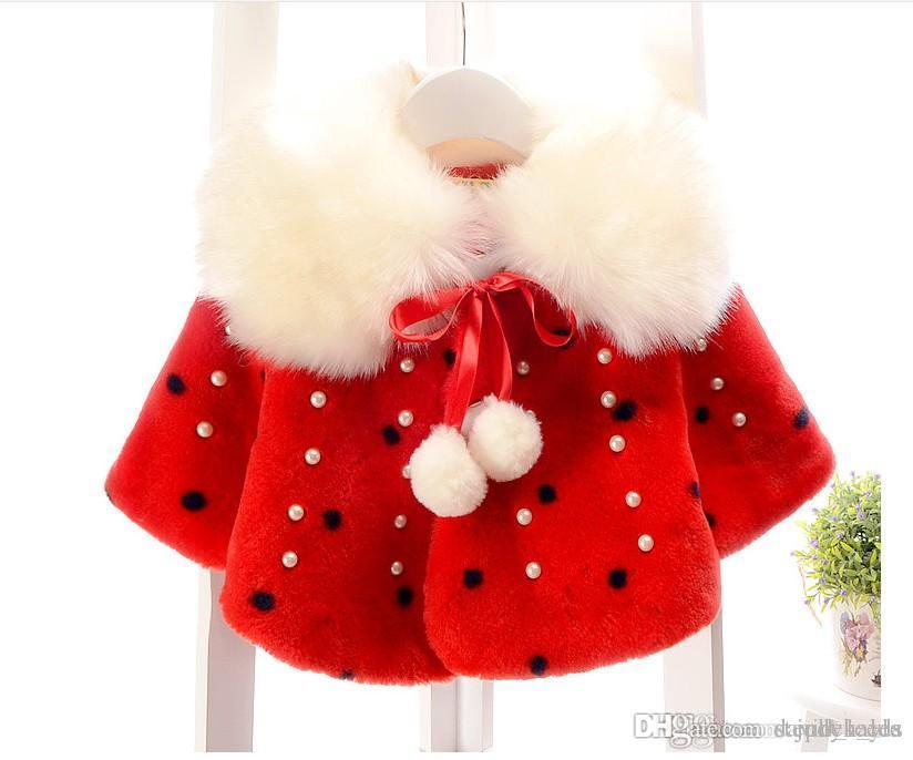 2017 Spring Winter Girls Poncho Baby Girl Fur Collar Shawl Outwear Cute Kids Cape With Inlaid Pearl For 0-4 Years Baby 4pcs/lot