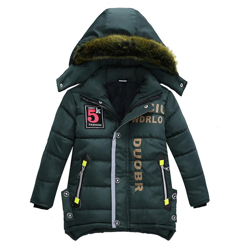 3-6 year Children's clothing children's coat Winter style letter print warm jacket Boys cotton hooded jacket